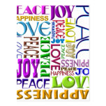 Felicidad del amor de la alegría de la paz tarjeta postal