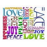 Felicidad del amor de la alegría de la paz postales