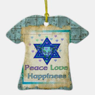 Felicidad del amor de la paz adorno de navidad