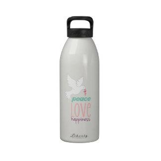 Felicidad del amor de la paz botallas de agua
