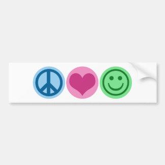 Felicidad del amor de la paz etiqueta de parachoque