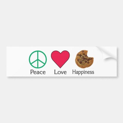 Felicidad del amor de la paz - galleta pegatina para auto