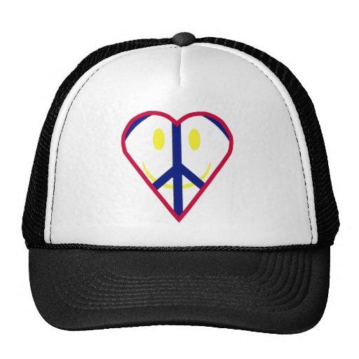 Felicidad del amor de la paz gorras de camionero