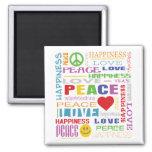 Felicidad del amor de la paz iman de frigorífico
