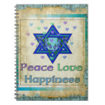 Felicidad del amor de la paz libros de apuntes con espiral