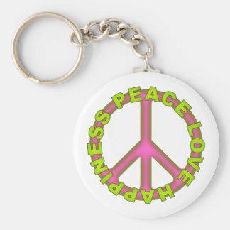 Felicidad del amor de la paz llaveros