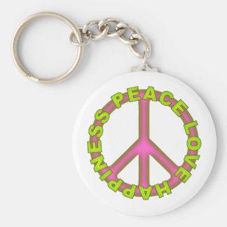 Felicidad del amor de la paz llavero personalizado