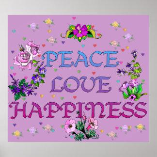 Felicidad del amor de la paz poster