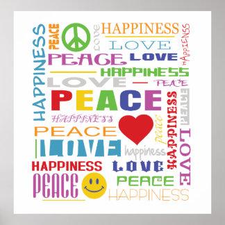 Felicidad del amor de la paz posters