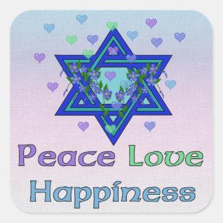 Felicidad del amor de la paz pegatina cuadrada