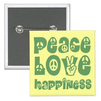 felicidad del amor de la paz pin cuadrada 5 cm