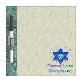 Felicidad del amor de la paz pizarra