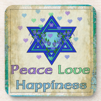 Felicidad del amor de la paz posavasos de bebidas