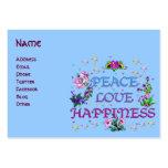 Felicidad del amor de la paz tarjetas de visita grandes