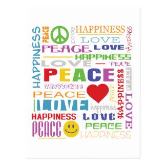 Felicidad del amor de la paz tarjeta postal