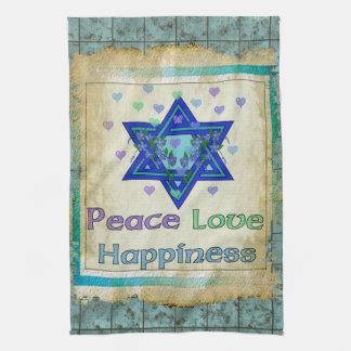 Felicidad del amor de la paz toalla de mano