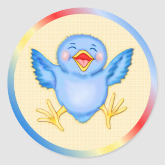 Felicidad del Bluebird Pegatina Redonda