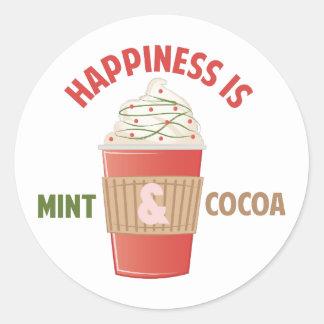 Felicidad del cacao de la menta pegatina redonda
