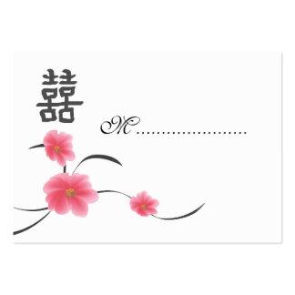 Felicidad del doble de la flor de cerezo de la tarjetas de visita grandes