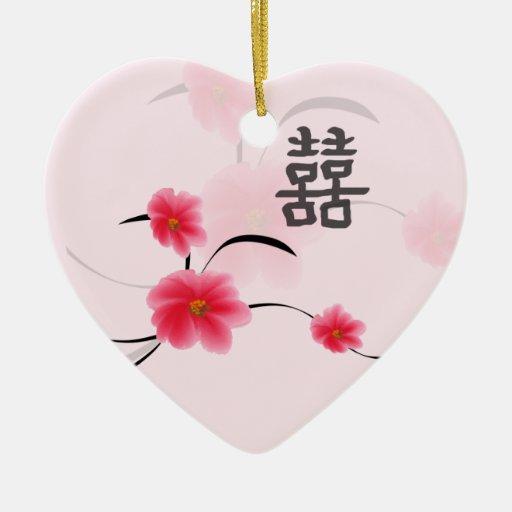 Felicidad del doble del flor del rosa del recuerdo ornamentos de reyes magos