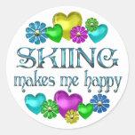 Felicidad del esquí etiqueta redonda