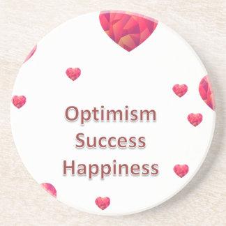 Felicidad del éxito del optimismo posavaso para bebida