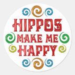 Felicidad del hipopótamo etiqueta redonda