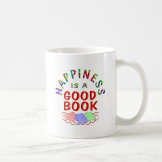 Felicidad del libro taza de café