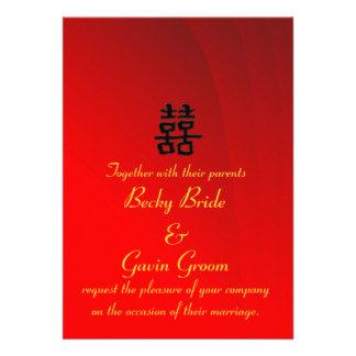 Felicidad doble china de la invitación del boda