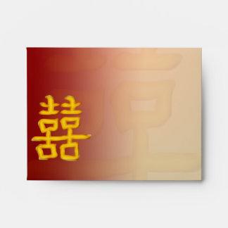 Felicidad doble china del sobre de RSVP A2