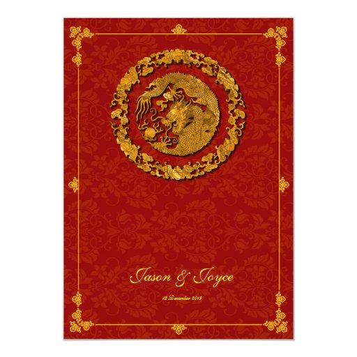 Felicidad doble clásica del dragón del oro que comunicado personalizado