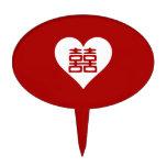 Felicidad doble • Corazón • Rojo intrépido Figuras Para Tartas