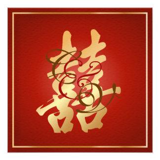 Felicidad doble de PixDezines, boda chino Invitación Personalizada