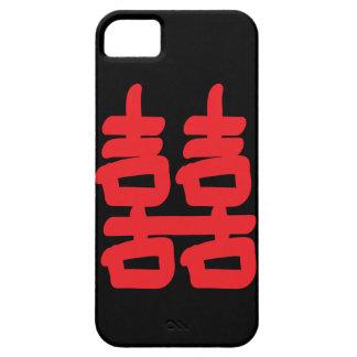 Felicidad doble en caja roja iPhone 5 fundas