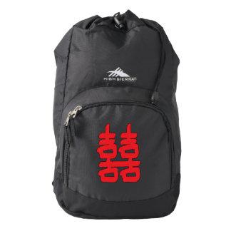 Felicidad doble en rojo mochila