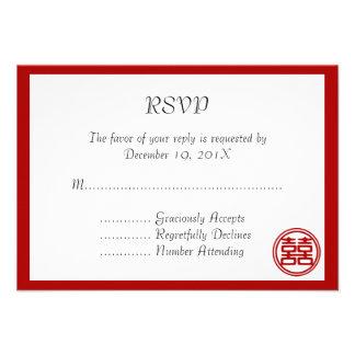 Felicidad doble • Redondo • Tarjetas de RSVP Invitacion Personalizada