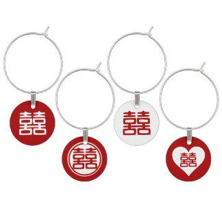 Felicidad doble • Rojo chino del boda Identificador De Copa