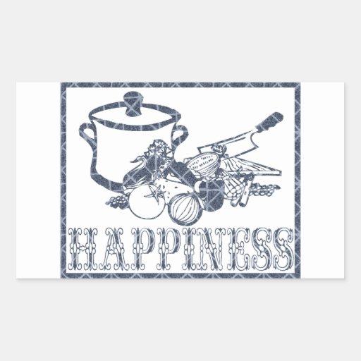 Felicidad: El cocinar Pegatina Rectangular