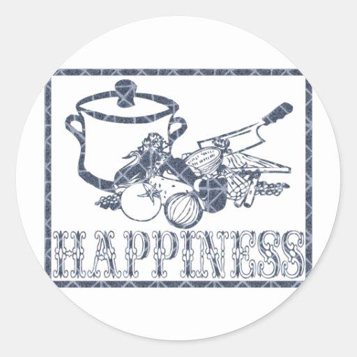 Felicidad: El cocinar Pegatina Redonda