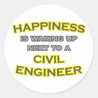 Felicidad. El despertar. Ingeniero civil Pegatina Redonda