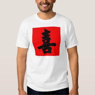 Felicidad en caligrafía del chino tradicional playera