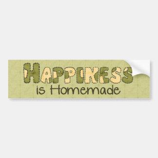 Felicidad hecha en casa etiqueta de parachoque