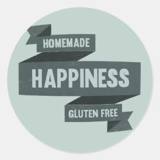 Felicidad hecha en casa - el gluten libera pegatina redonda