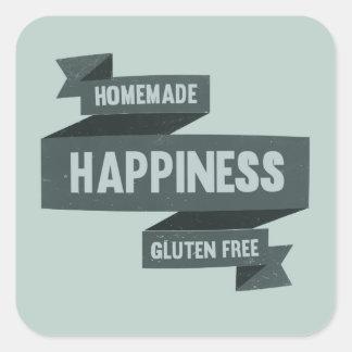 Felicidad hecha en casa - el gluten libera pegatina cuadrada
