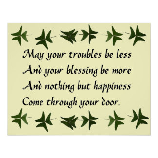 Felicidad irlandesa de la bendición póster