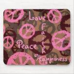 Felicidad-Mousepad de la fe del amor de la paz Tapete De Ratones