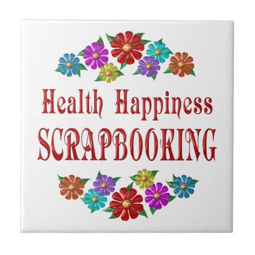 Felicidad Scrapbooking de la salud Azulejo Cuadrado Pequeño