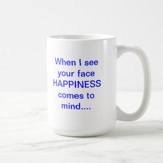 Felicidad sin la taza de café de la imagen