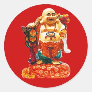 Felicidad sonriente Buda Pegatina Redonda