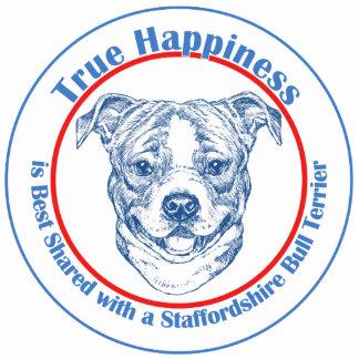 Felicidad verdadera con Staffordshire bull terrier Escultura Fotografica